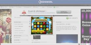 publicité d'un jeux vidéo sur kidswirl
