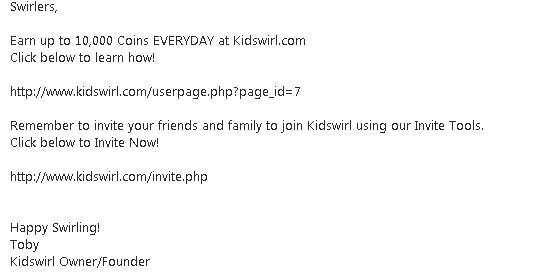 kidswirl arnaque au mail
