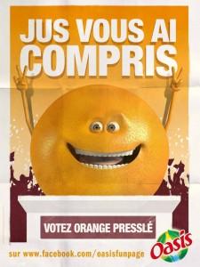 orange presslé oasis président affiche