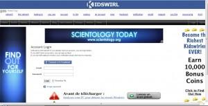 publicité pour la scientologie sur kidswirl
