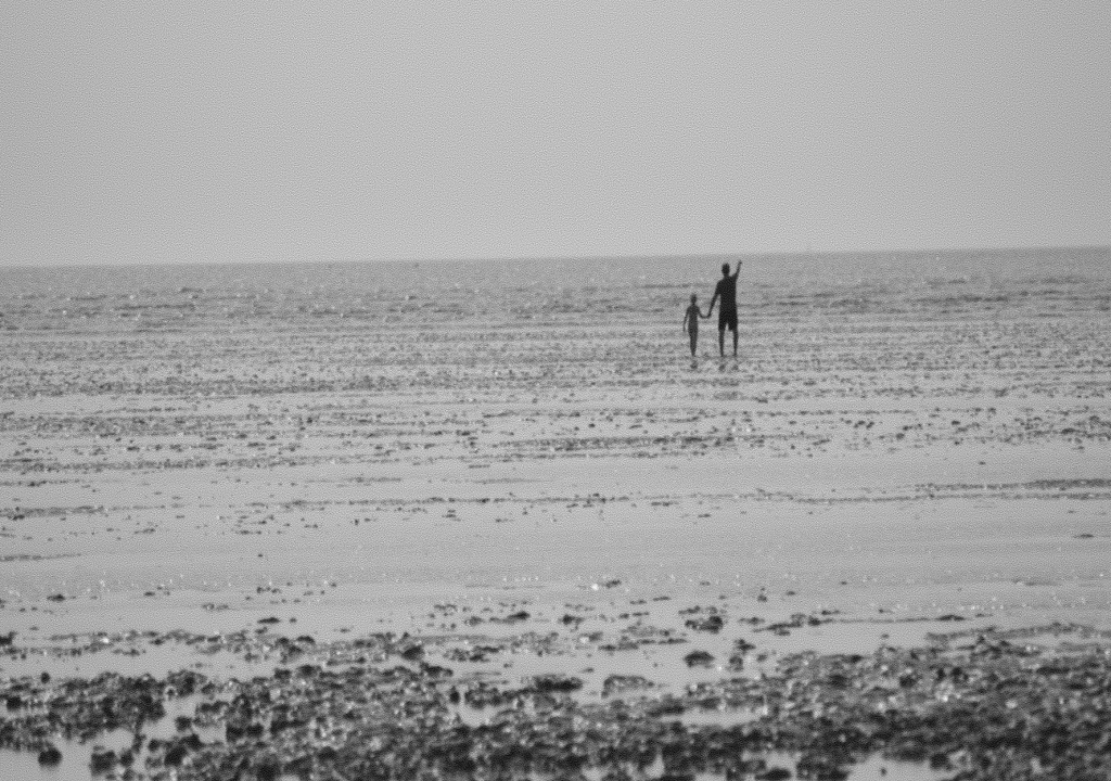père et fils sur la plage